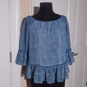 LUCKY BRAND 3/4 Sl. On/Off Shoulder Ruffle Top